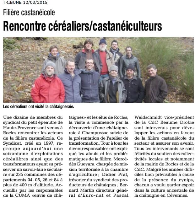20150312 La Tribune - Viste chez les castanéiculteurs